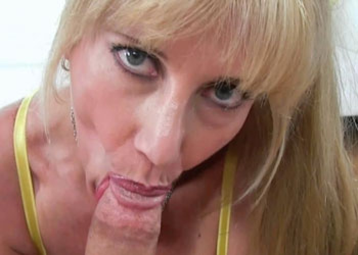 Mature slut Olivia swallows a cock